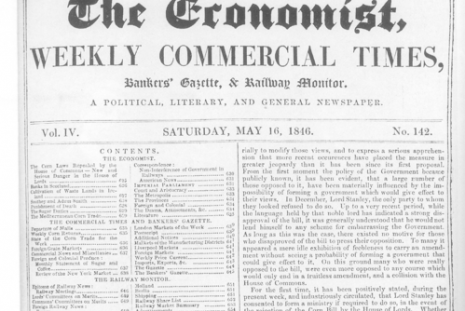 "The front page of ""The Economist"", on May 16, 1846, Source: Wikimedia Commons"